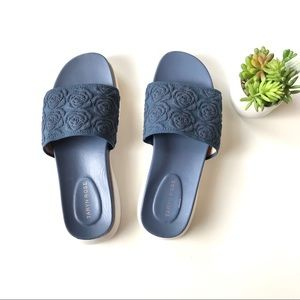 Taryn Rose Iris slides sandals blue leather Sz 8.5